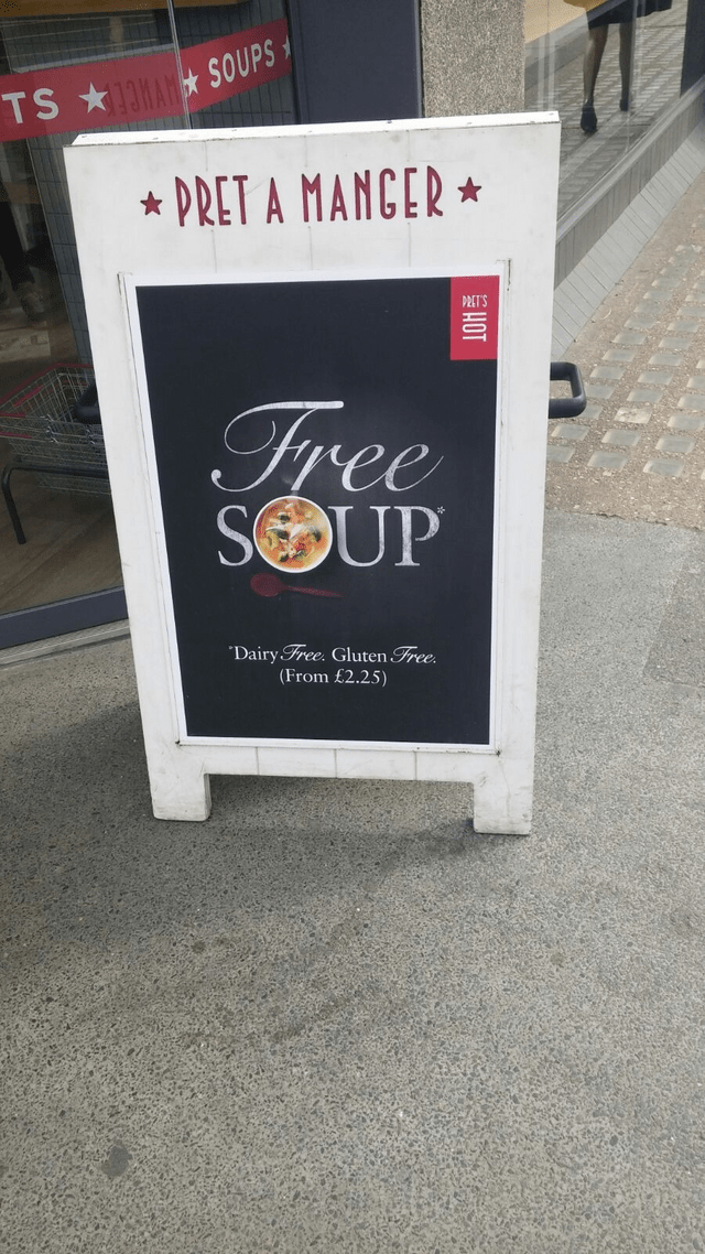 Text - TS SOUPS PRET A MANCER PRET'S Tree SOUP Dairy Free. Gluten Free (From £2.25) HOT