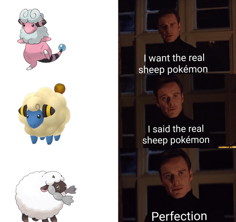 """Funny Wooloo meme that says, """"I want the real sheep Pokemon, I said the real sheep Pokemon. Perfection"""""""