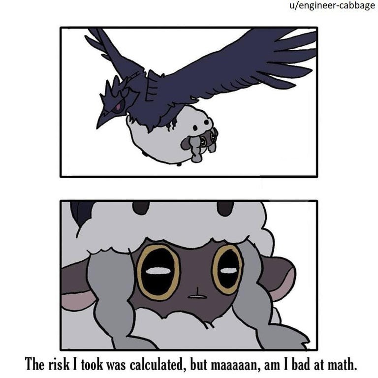 """Funny Wooloo meme that says, """"The risk I took was calculated, but maaaan, am I bad at math"""""""