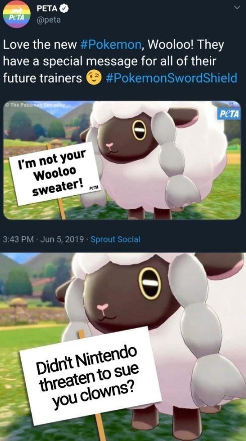 Funny Wooloo meme - PETA original tweet