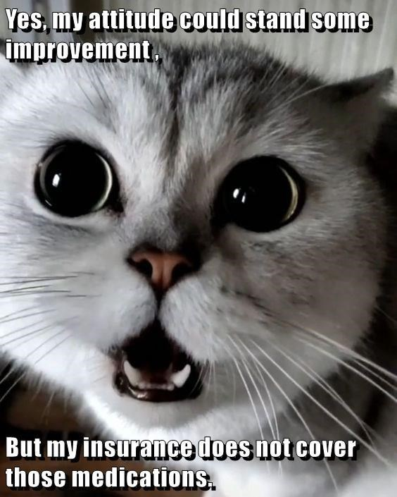 Cat - Yes.my attitude could stand some improvement, But my insurance does not cover those medications.