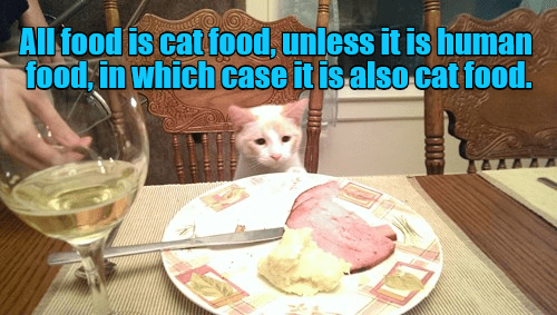 Cat - ALl food is cat food, unless it is human food in which case it isalso cat food. TE