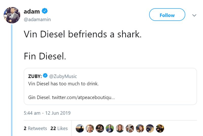 Text - adam Follow @adamamin Vin Diesel befriends a shark. Fin Diesel. @ZubyMusic ZUBY: Vin Diesel has too much to drink. Gin Diesel. twitter.com/atpeaceboutiqu... 5:44 am - 12 Jun 2019 2 Retweets 22 Likes