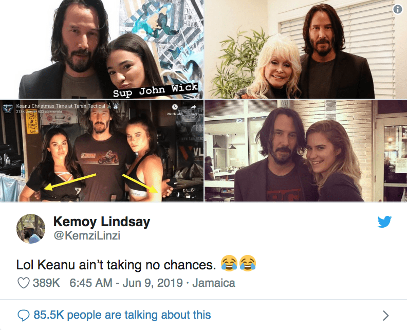 keanu hover hands - Face - EH Sup John Wick Keanu Christmas Time at Taran Tactical 213K 433 corrments Watch late Share 80 TARNTAC VL Kemoy Lindsay @KemziLinzi Lol Keanu ain't taking no chances 389K 6:45 AM - Jun 9, 2019 Jamaica 85.5K people are talking about this ZG 873