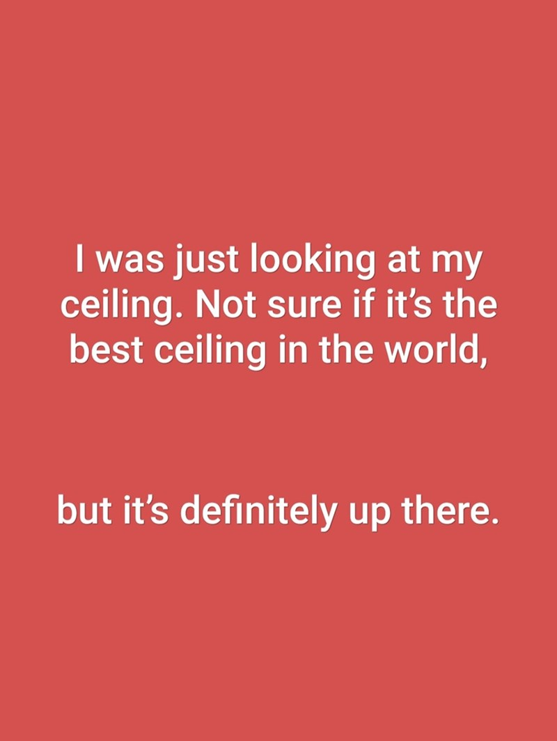 Text - I was just looking at my ceiling. Not sure if it's the best ceiling in the world, but it's definitely up there.