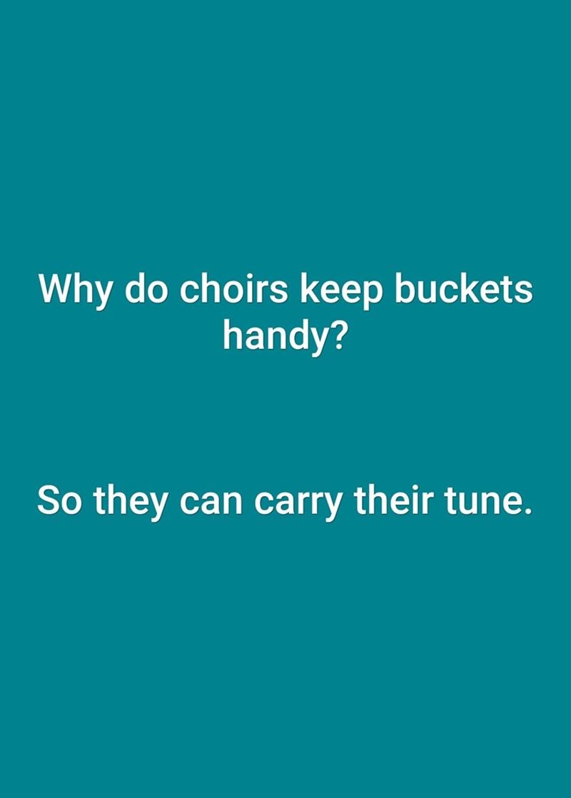 Text - Why do choirs keep bucketse handy? So they can carry their tune.