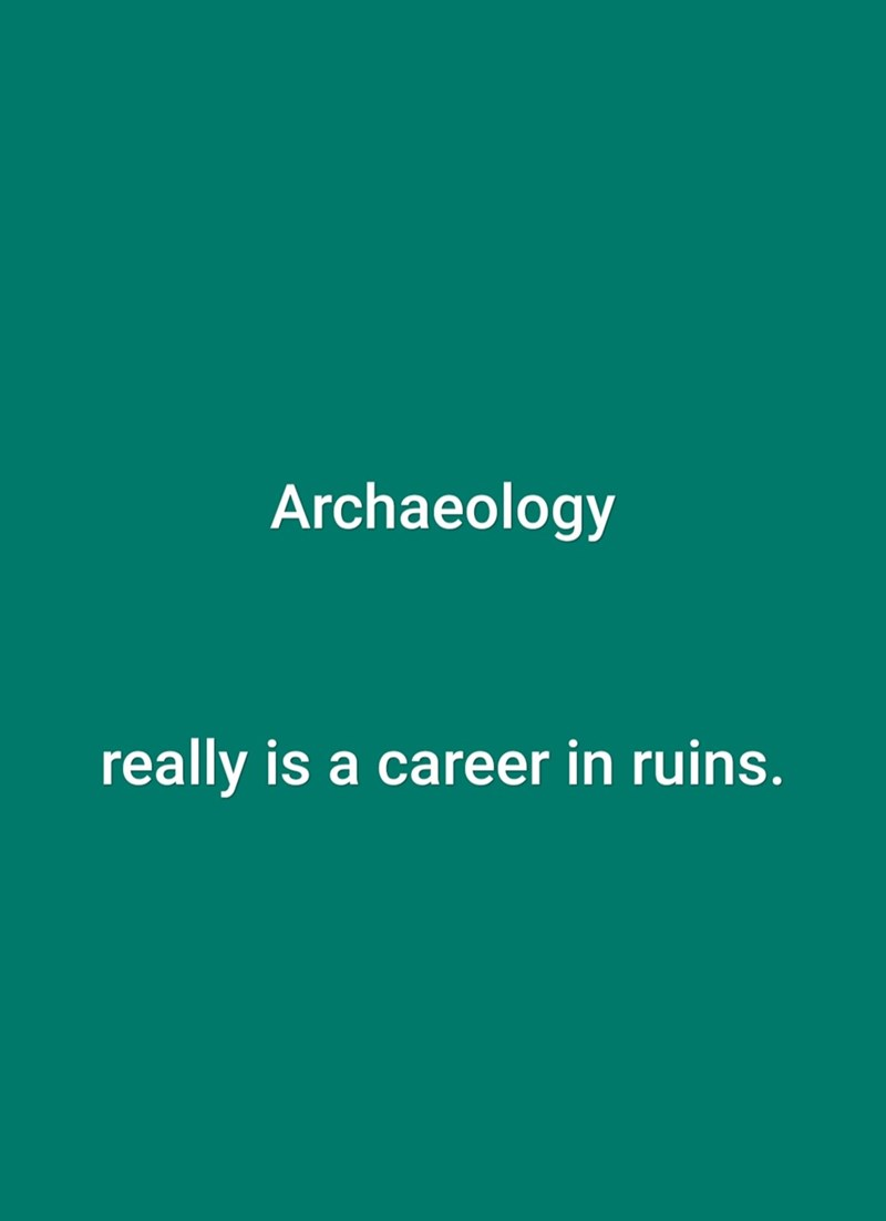 Green - Archaeology really is a career in ruins.