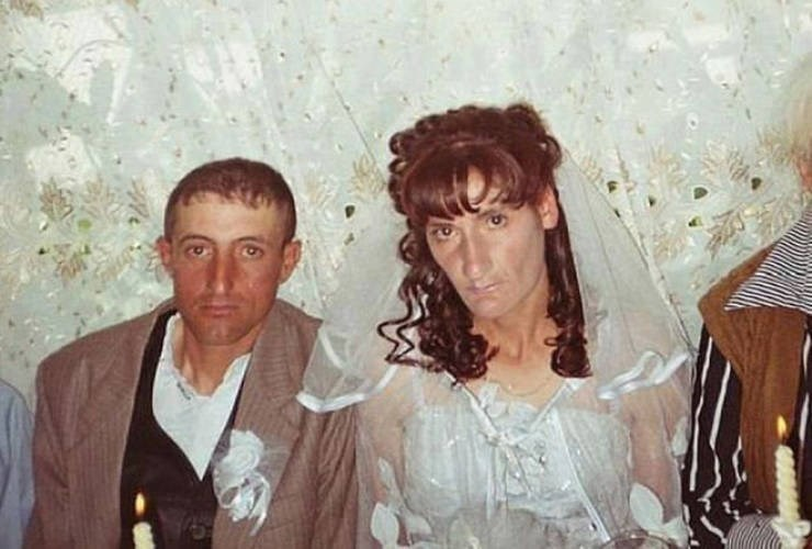 russian cringe wedding photos - People