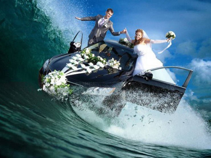russian cringe wedding photos - Boating