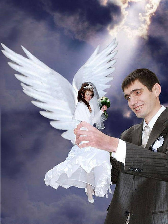 russian cringe wedding photos - Angel