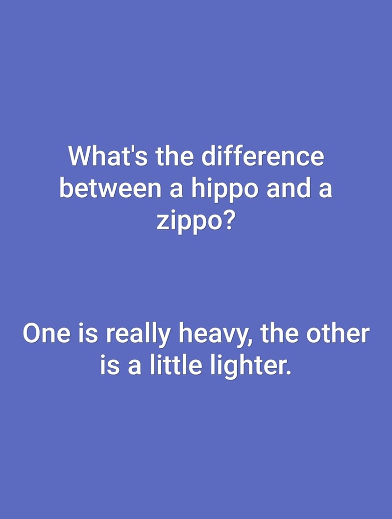 dad joke - Text - What's the difference between a hippo and a zippo? One is really heavy, the other is a little lighter.