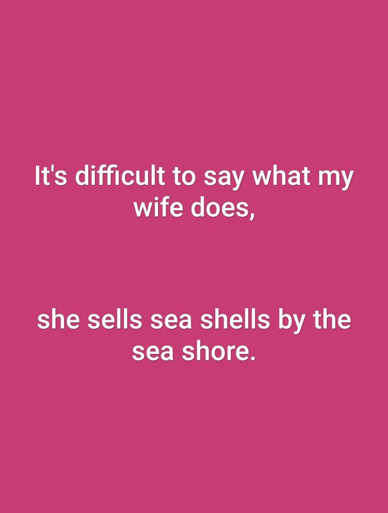 Text - It's difficult to say what my wife does, she sells sea shells by the sea shore.