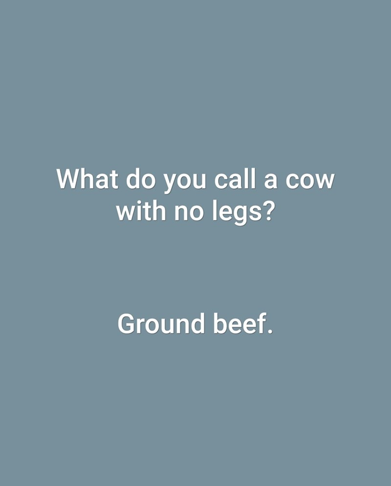 Text - What do you call a cow with no legs? Ground beef.