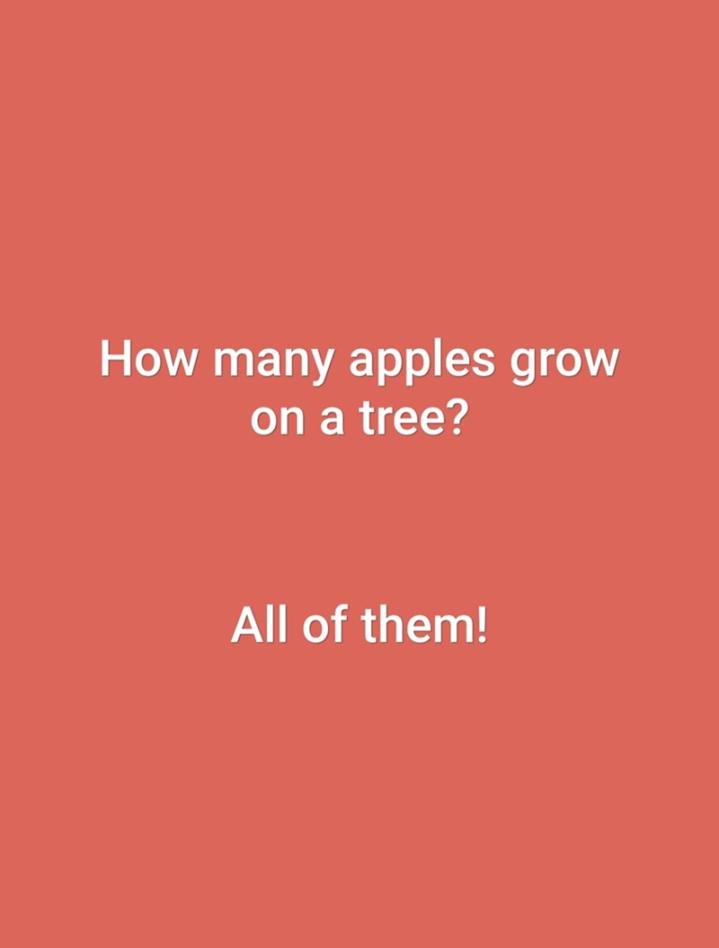 Text - How many apples grow on a tree? All of them!