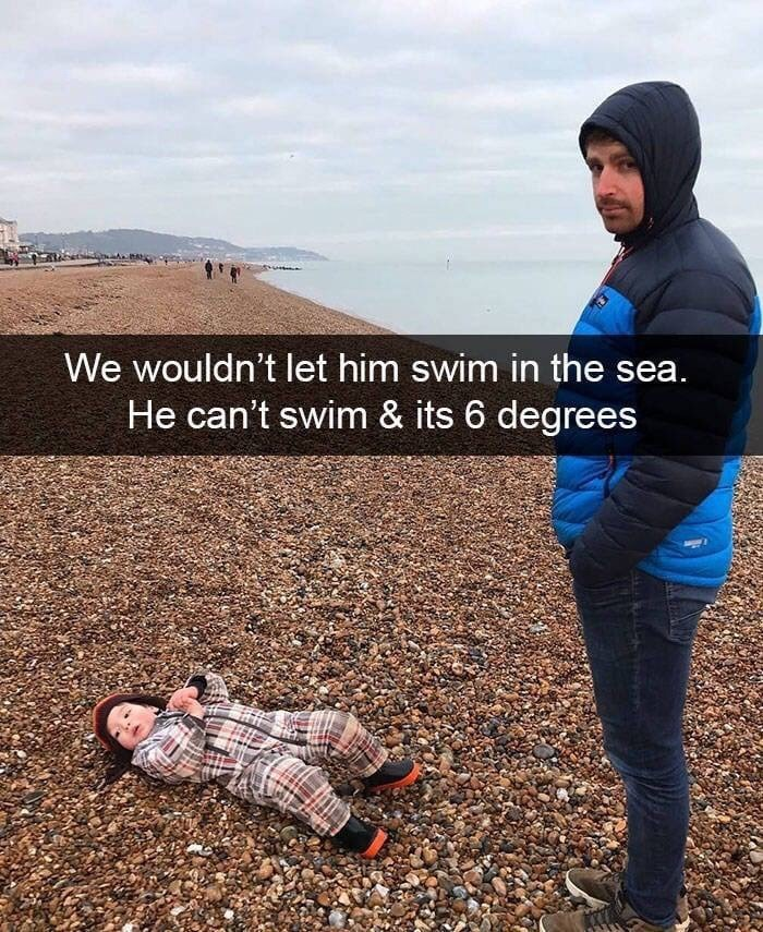 toddler on beach upset because they can't swim