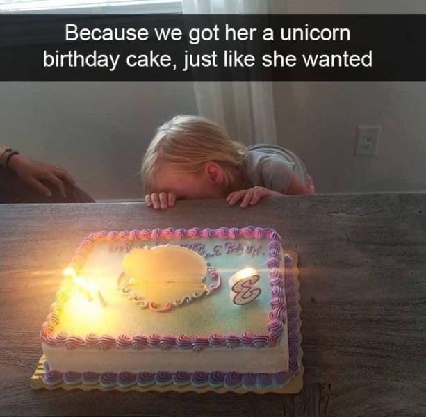 girl at birthday upset she got the right unicorn cake