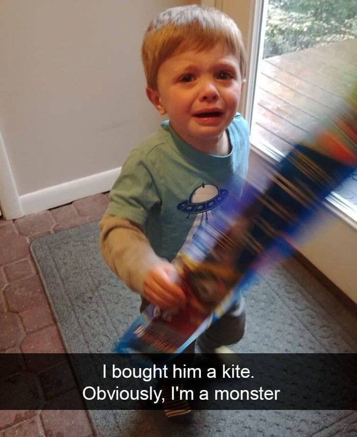 child angry because his parent bought him a kite