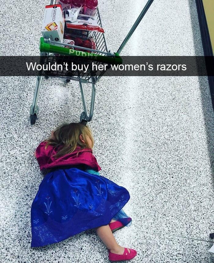 kid tantrums - Green - Wouldn't buy her women's razors SANDWICH