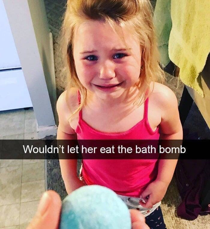 kid tantrums - Child - Wouldn't let her eat the bath bomb