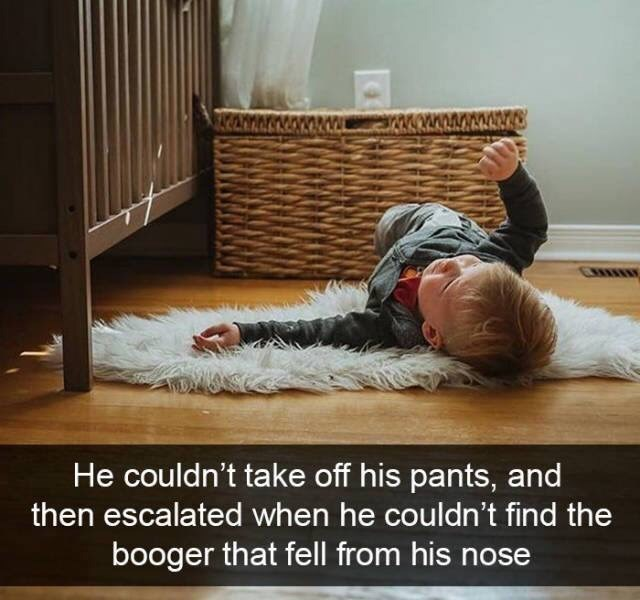 kid tantrums - Floor - He couldn't take off his pants, and then escalated when he couldn't find the booger that fell from his nose