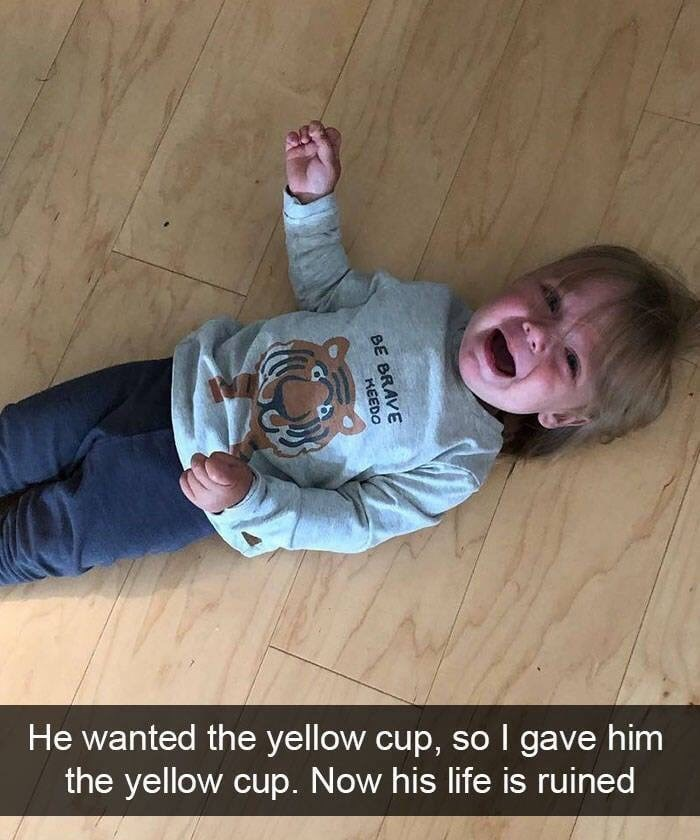 kid tantrums - Photo caption - He wanted the yellow cup, so I gave him the yellow cup. Now his life is ruined BE BRAVE KEEDO