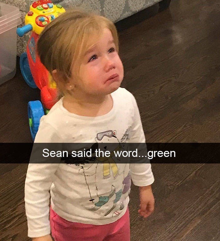 kid tantrums - Child - Sean said the word...green