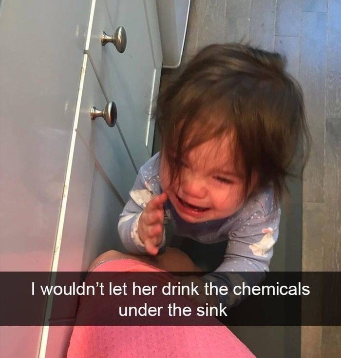 kid tantrums - Child - I wouldn't let her drink the chemicals under the sink