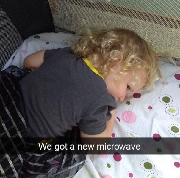 kid tantrums - Hair - We got a new microwave