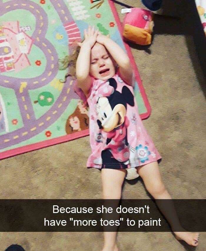 """kid tantrums - Pink - O Because she doesn't have """"more toes"""" to paint"""