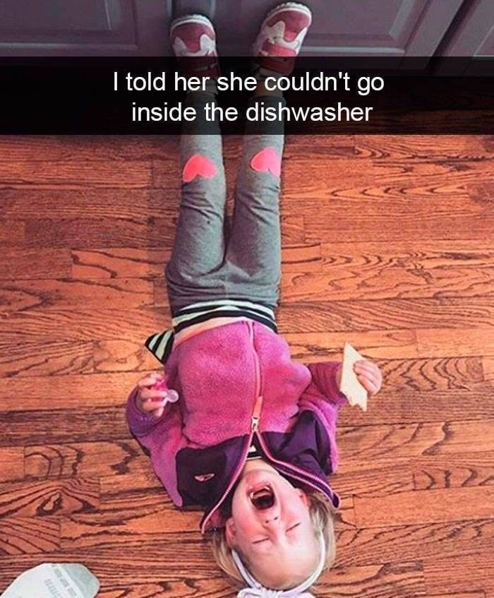 kid tantrums - Pink - I told her she couldn't go inside the dishwasher