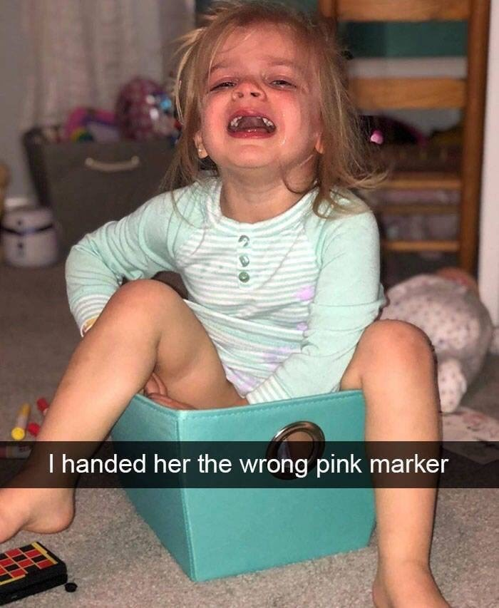 kid tantrums - Child - I handed her the wrong pink marker
