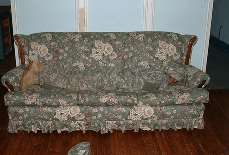 camouflage clothes matching floral couch