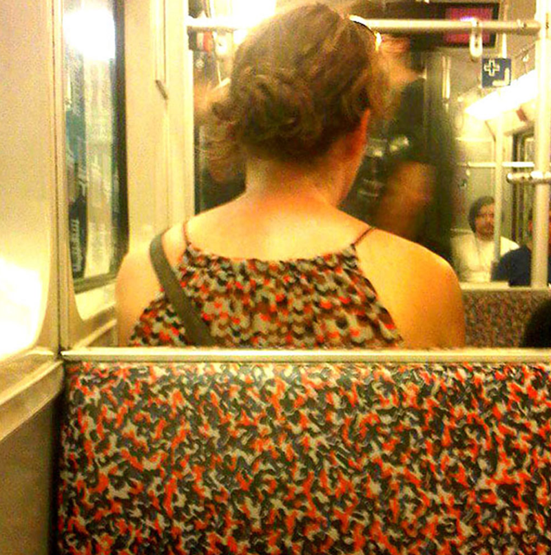 clothes matching public transport seat