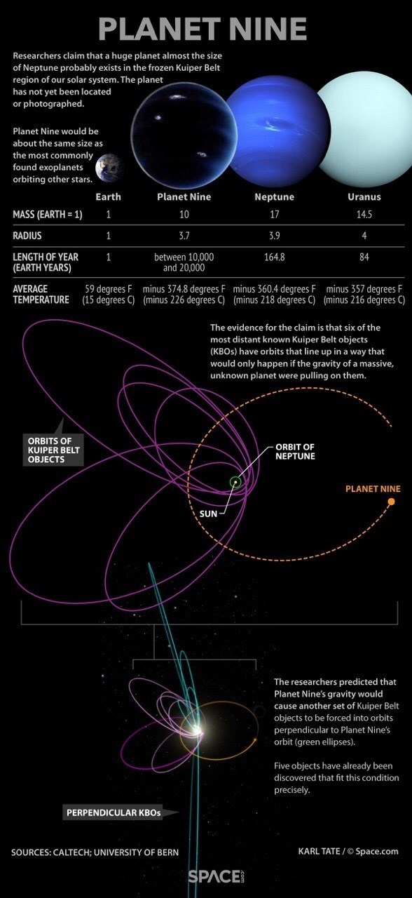 Interesting diagram of the solar system including Planet Nine