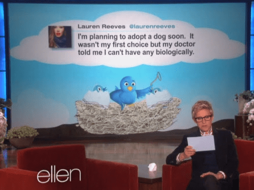 Adaptation - Lauren Reeves @laurenreeves I'm planning to adopt a dog soon. It wasn't my first choice but my doctor told me I can't have any biologically. ellen