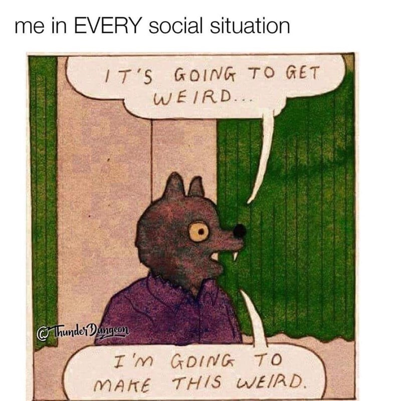 memes - Cartoon - me in EVERY social situation IT'S GOING TO GET WEIRD. ThunderDangcon I 'm GDING TO MAKE THIS WEIRD