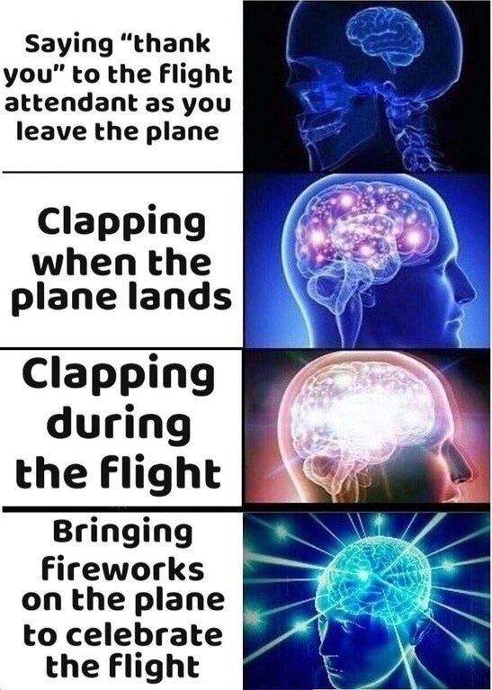 "memes - Organism - Saying ""thank you"" to the flight attendant as you leave the plane Clapping when the plane lands Clapping during the flight Bringing fireworks on the plane to celebrate the flight"