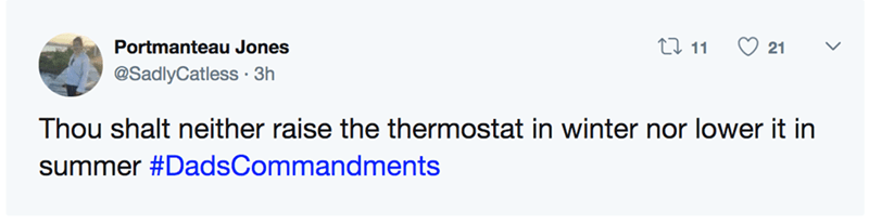 Dad's Commandments - Text - Li 11 Portmanteau Jones 21 @SadlyCatless 3h Thou shalt neither raise the thermostat in winter nor lower it in summer #DadsCommandments