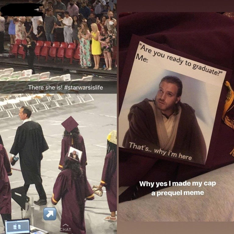 Funny graduation meme - photo of a Star Wars prequel graduation hat