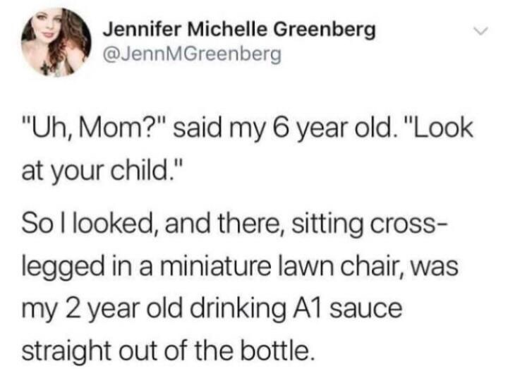 Funny tweet about a kid drinking A1 steak sauce out of the bottle