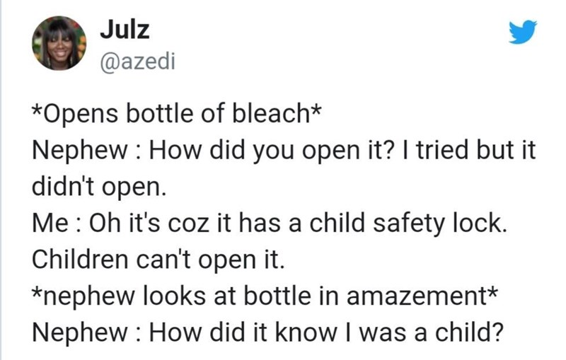 Funny tweet about a child safety lock on a bottle of bleach