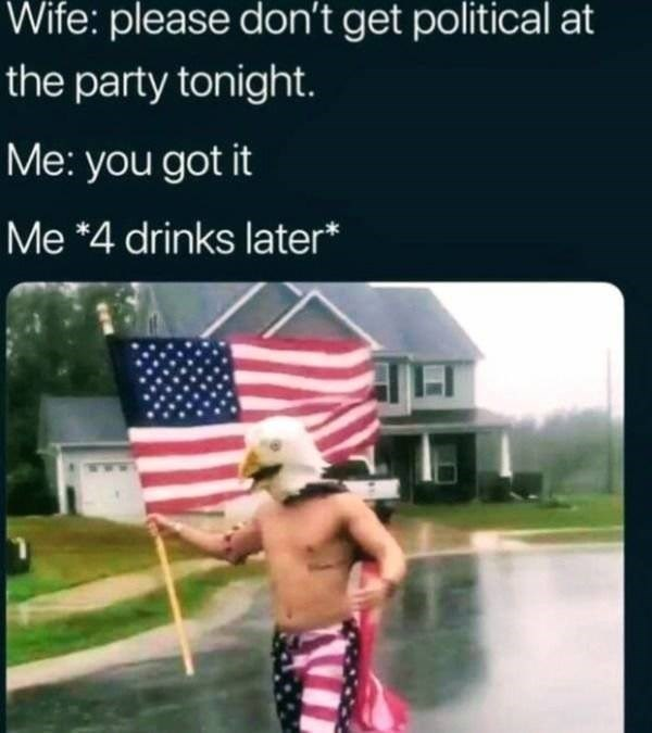 Flag of the united states - Wife: please don't get political at the party tonight. Me: you got it Me *4 drinks later*