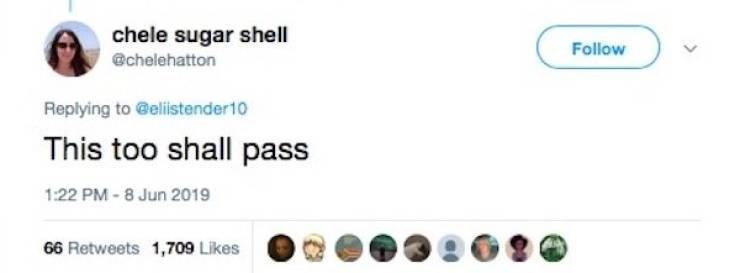 Text - chele sugar shell Follow @chelehatton Replying to @elistender10 This too shall pass 1:22 PM-8 Jun 2019 66 Retweets 1,709 Likes