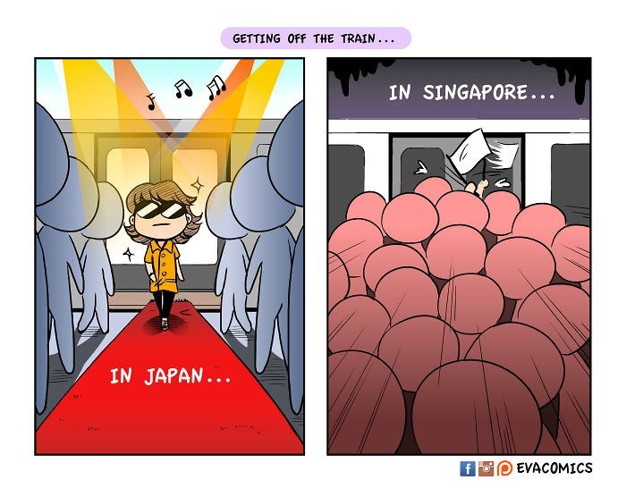 Cartoon - GETTING OFF THE TRAIN.. IN SINGAPORE... IN JAPAN... EVACOMICS