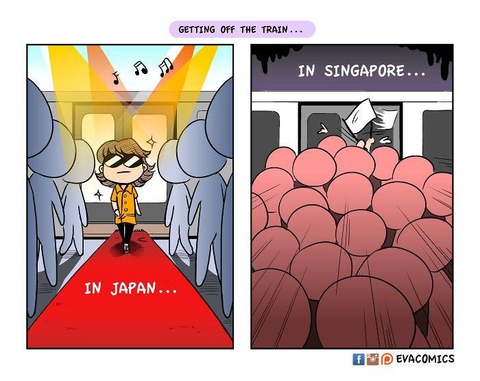 Cartoon - GETTING OFF THE TRAIN.. IN SINGAPORE... IN JAPAN... EVACOMICS