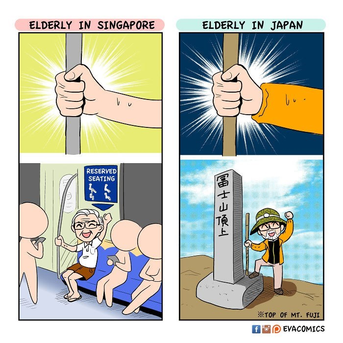 Cartoon - ELDERLY IN SINGAPORE ELDERLY IN JAPAN RESERVED SEATING TOP OF MT. FUJI EVACOMICS f Fo