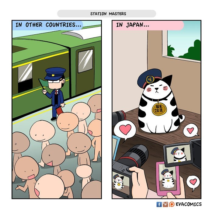 Cartoon - STATION MASTERS IN OTHER COUNTRIES... IN JAPAN.. EVACOMICS f For