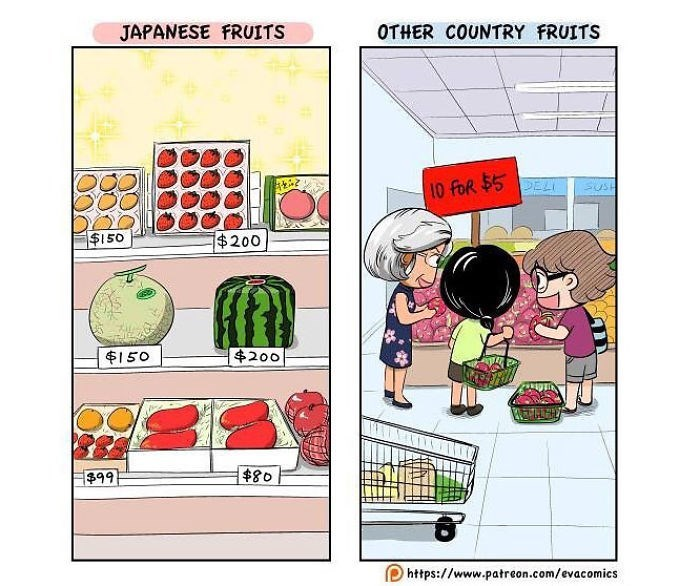 Cartoon - JAPANESE FRUITS OTHER COUNTRY FRUITS DELI 10 foR $5 SUSH $150 $200 $200 $150 $80 $99 https://www.patreon.com/evacomics