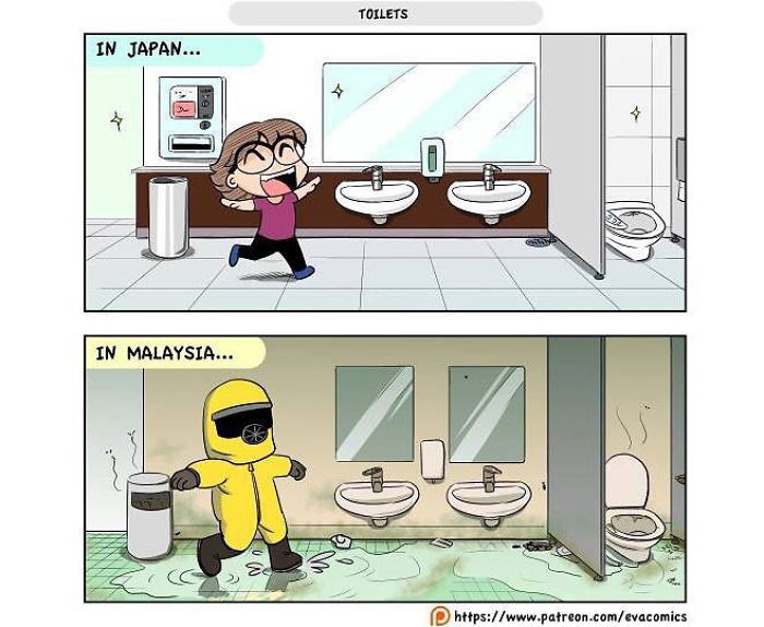 Cartoon - TOILETS IN JAPAN... IN MALAYSIA.. https://www.patreon.com/evacomics