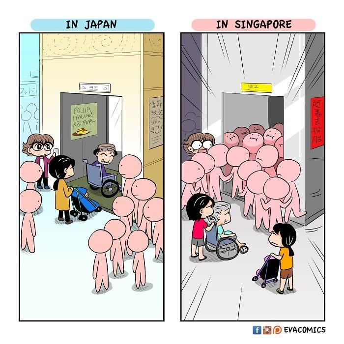 Cartoon - IN JAPAN IN SINGAPORE 2 FOLIA ITAUAN AS r f Fo EVACOMICS
